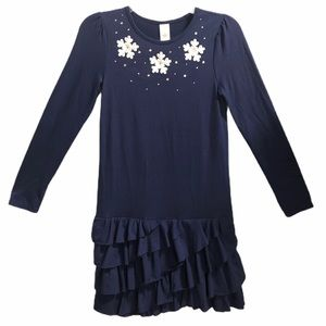 Gymboree snowflake navy ruffle long sleeve dress